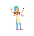 multitasking artist character girl with blue vector image vector image