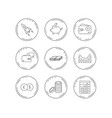 piggy bank cash money and startup rocket icons vector image