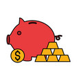piggy bank money gold bars stock market vector image vector image