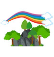 rainbow over the mountain vector image vector image