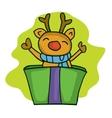 Reindeer on the box Christmas theme vector image