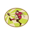 rugby player kicking ball vector image vector image