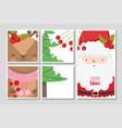 santa and reindeer berries and tree merry vector image
