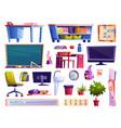 school classroom elements furniture and gadgets vector image