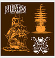 sea emblem - pirate ship and jolly roger vector image