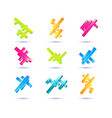 set of minimal geometric multicolor low poly vector image
