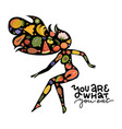 silhouette an active woman from healthy food vector image vector image