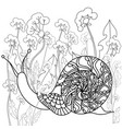 snail on a field of dandelions black and white vector image vector image