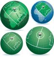 soccer field on globe vector image vector image