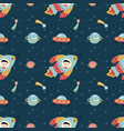 space travels seamless pattern cartoon vector image
