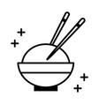 sushi oriental menu bowl rice with chopsticks line vector image