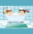 two boys taking bubble bath vector image vector image