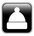 Winter hat symbol button vector image vector image