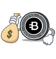 with money bag bytecoin coin character cartoon vector image vector image