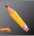 wooden yellow office graphit pencil with a rubber vector image