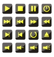 yellow media player buttons vector image vector image