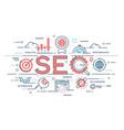 seo search engine otimization thin line concept vector image