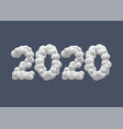 2020 white snow numbers vector image vector image