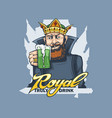 bearded king with a glass beer in his hand vector image vector image
