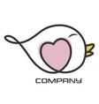 bird and heart logo vector image vector image