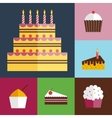 Birthday cupcakes icons set vector image vector image