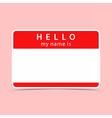 Blank red name tag sticker HELLO vector image vector image