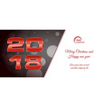 bokeh 2018 happy new year card with red text vector image vector image