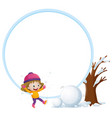 border template with girl and snow balls vector image