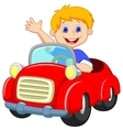 Boy cartoon in the red car vector image vector image