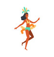 brazil carnival dancer woman in colorful feather vector image vector image
