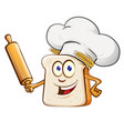 bread chef with rollin pin cartoon vector image vector image