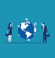 business people and globe communicating concept vector image