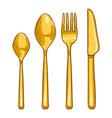 cartoon color set golden cutlery knife fork vector image vector image
