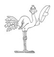 cartoon image of bird wearing hat vector image vector image