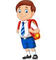 cartoon school boy in uniform with backpack vector image vector image