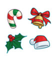 christmas cartoon icon set candy cane bell vector image