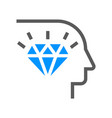 corporate management line icon diamond mind vector image vector image