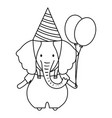 cute elephant with balloons helium in birthday vector image