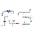 damaged leaky pipes water pipe leaks broken vector image