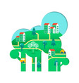 eco friendly tree concept with green city vector image vector image