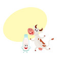 farm cow and milk bottle characters with smiling vector image vector image