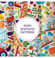 farm seamless pattern farming house vector image