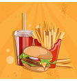 fast food with burgerfried potatoes and cola vector image