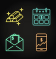 finance icon set in neon line style vector image vector image