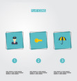 flat icons policeman parasol clue and other vector image vector image