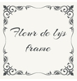 Fleur de lys ornate frame white background vector image