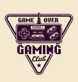 gaming club emblem with retro gamepad vector image