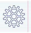 gear sign navy line icon on notebook vector image vector image