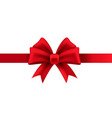 gift bow red ribbon for present package vector image vector image