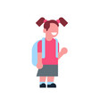 girl backpack school children isolated small vector image vector image